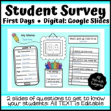 Digital Student Survey: First Days of School - Editable - Distance Learning