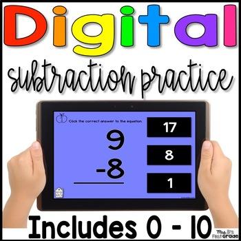 Digital Subtraction Fact Practice 0 - 10