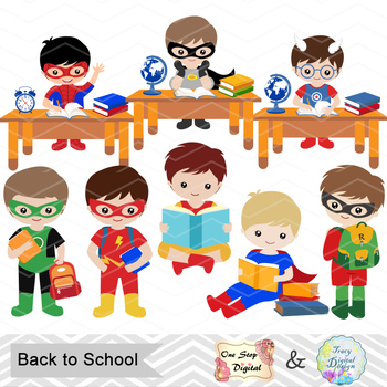 Digital Superhero Boy Clip Art, Superhero Back to School Boy Clip Art