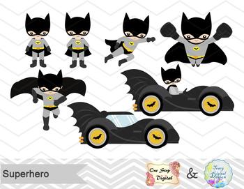 Digital Superhero Clip Art, Batman Catwoman Joker Robin, Super Hero Clilpart