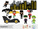 Digital Superhero Clip Art, Batman Catwoman Joker Robin, S