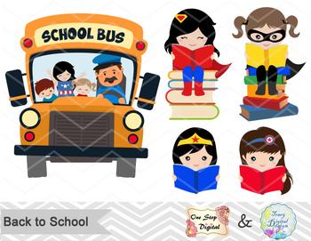 Digital Superhero School Girl Clip Art, Back to School Superhero Girl Clip Art