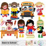 Digital Superhero School Girl Clip Art, Back to School Sup