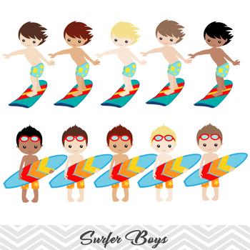 Digital Surfer Boy Clip Art, Summer Beach Boy Clip Art, Boy Surf Clip Art