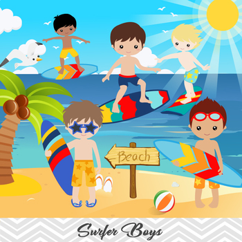 Digital Surfer Boy Clip Art, Summer Beach Boy Clip Art, Boy Surf Clip Art