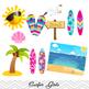 Digital Surfer Girl Clip Art, Summer Beach Girl Clip Art, Kid Surf Clip Art