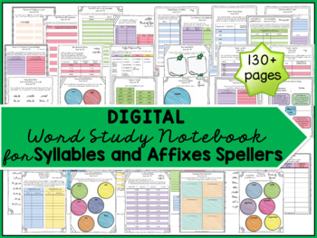 Digital Syllables and Affixes Spellers Word Study Notebook for Google Slides(TM)