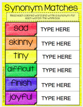 Digital Synonym Activities for Google Drive