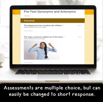 Digital Synonyms and Antonyms SELF-GRADING Assessments for Google Classroom