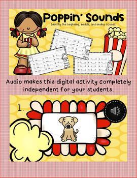 Interactive Digital Task Card Center: Beginning, Medial and Final Sounds (CVC)