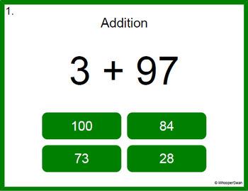 Digital Task Cards: 2-Digit + 1-Digit Addition