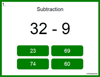 Digital Task Cards: 2-Digit - 1-Digit Subtraction