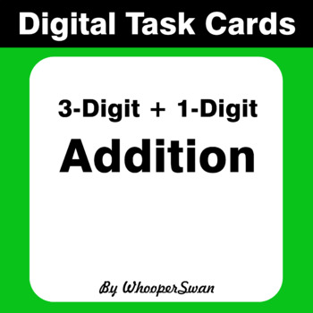 Digital Task Cards: 3-Digit + 1-Digit Addition