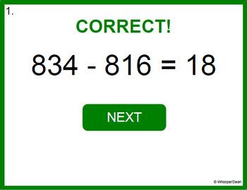 Digital Task Cards: 3-Digit Subtraction