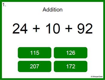 Digital Task Cards: Adding Three 2-Digit Addition