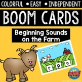 Digital Task Cards / Boom Cards™️ / Beginning Sounds on the Farm