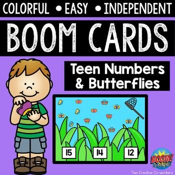Digital Task Cards / Boom Cards™️ / Teen Numbers & Butterflies