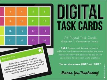 Digital Task Cards Converting Measurements (5.MD.1)