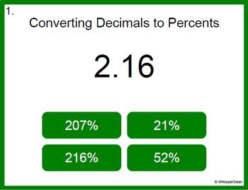 Digital Task Cards: Decimals to Percents