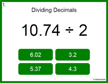 Digital Task Cards: Dividing Decimals