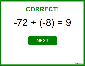 Digital Task Cards: Dividing Integers