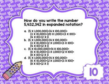 Digital Task Cards Google Drive Paperless 4th Gr Math Place Value Test Prep