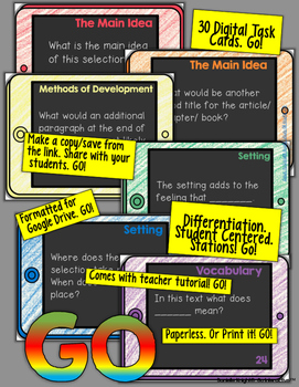 INDEPENDENT READING PAPERLESS DIGITAL TASK CARDS FOR GOOGLE DRIVE