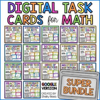 Digital Math Task Cards Bundle for the YEAR - Google Version