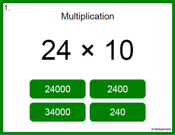 Digital Task Cards: Multiplying by 10, 100, and 1000