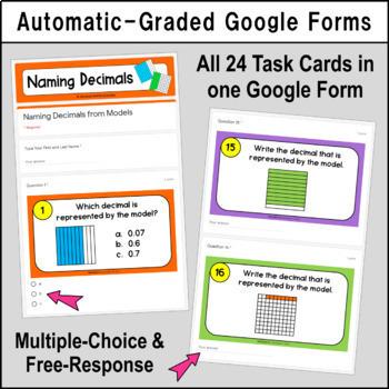 Digital Task Cards - Naming Decimals from Decimal Grid Models