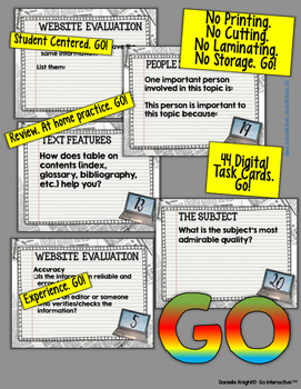 NON FICTION DIGITAL TASK CARDS PAPERLESS GOOGLE DRIVE RESOURCE