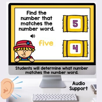 Digital Task Cards Number Words