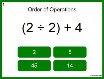 Digital Task Cards: Order of Operations
