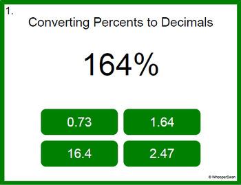 Digital Task Cards: Percents to Decimals