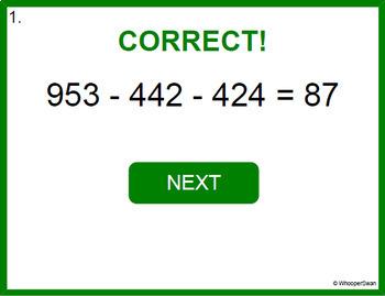Digital Task Cards: Three 3-Digit Subtraction
