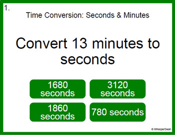 Digital Task Cards: Time Conversion - Minutes & Seconds