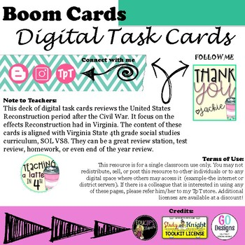 Digital Task Cards- VS8 Reconstruction