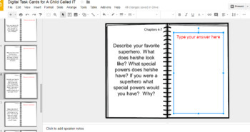 Digital Task Cards for A Child Called IT (Google Drive Edition)