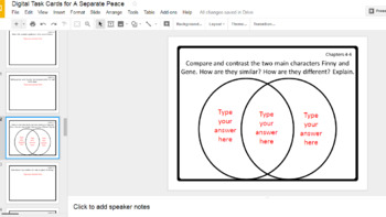 Digital Task Cards for A Separate Peace by John Knowles (Google Drive Edition)