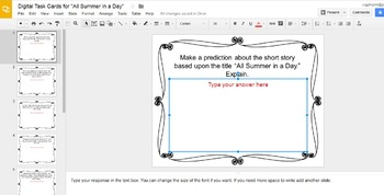 """Digital Task Cards for """"All Summer in a Day"""" by Ray Bradbury (Google Drive)"""