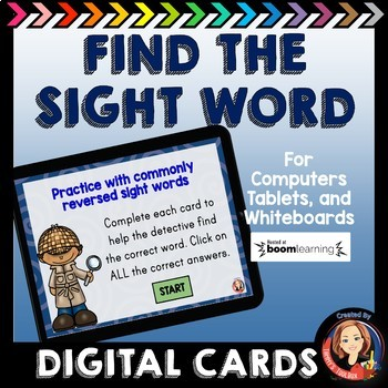 Digital Task Cards for Commonly Reversed Sight Words