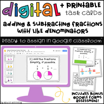 Digital Task Cards for Google Classroom™: Adding & Subtracting Fractions
