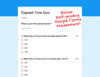 Digital Task Cards for Google Classroom™: Elapsed Time