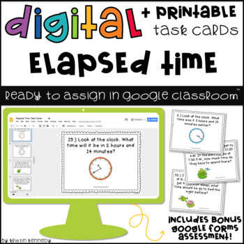 Digital Task Cards for Google Classroom™: Elapsed Time