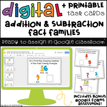 Digital Task Cards for Google Classroom™: Addition & Subtraction Fact Families