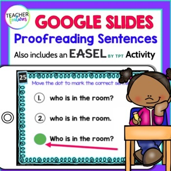 Digital Task Cards  for Google Classroom:  Proof-reading Sentences