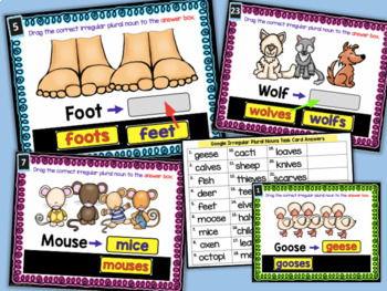 Digital Task Cards for Google Classroom: Irregular Plural Nouns 2nd Grade