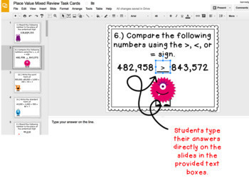 Digital Task Cards for Google Classroom™: Place Value