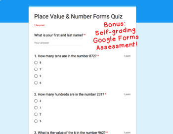 Digital Task Cards for Google Classroom: Place Value & Number Forms {to 999}