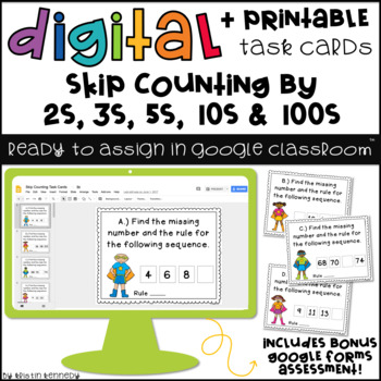 Digital Task Cards for Google Classroom™: Skip Counting (Primary Version)